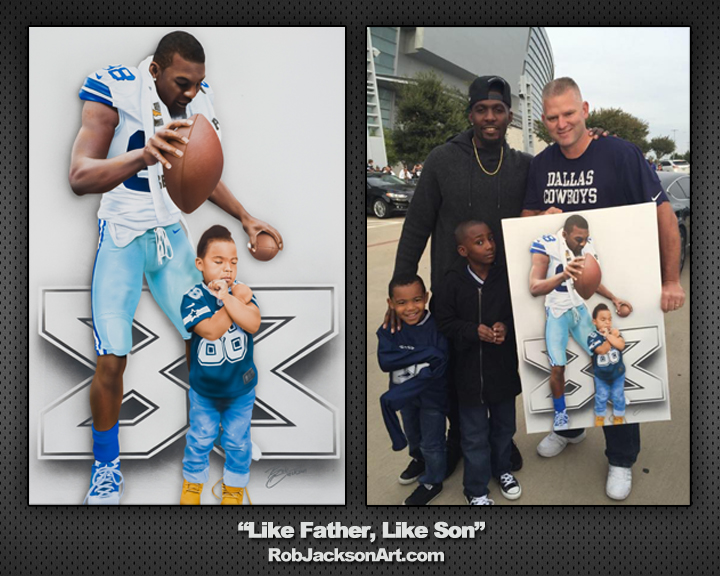 """Dez"" ""Bryant"" ""Father"" ""Son"" ""Dallas"" ""Cowboys"" ""NFL"" ""88"" ""Painting"" ""Airbrush"" ""Sports"" ""Artist"" ""Rob"" ""Jackson"" ""Athletes Artist"""